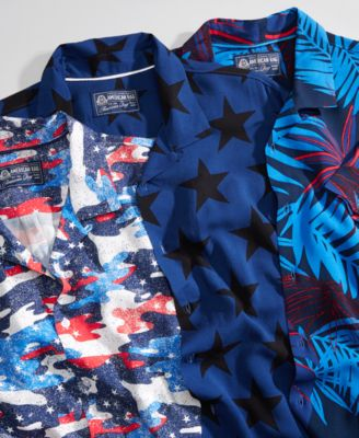 Men's Star Print Camp Collar Shirt, Created for Macy's