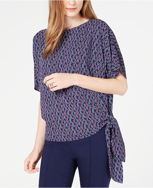 Michael Kors Wave Mosaic Side-Tie Top, Regular & Petite Sizes