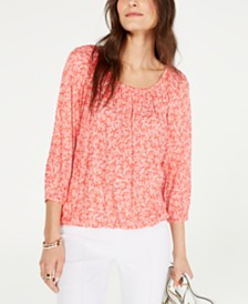 MICHAEL Michael Kors Painterly Reef Peasant Top, Regular & Petite Sizes