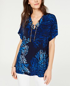 MICHAEL Michael Kors Reef Printed Lace-Up Tunic Top, Regular & Petite Sizes