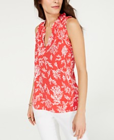 MICHAEL Michael Kors Printed Ruffled Sleeveless Top, Regular & Petite Sizes