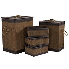 Square Bamboo Hampers and Baskets with Faux Leather Accents, 5-Pc. Set