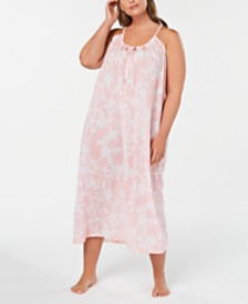 Charter Club Plus Size Printed Cotton Nightgown, Created for Macy's