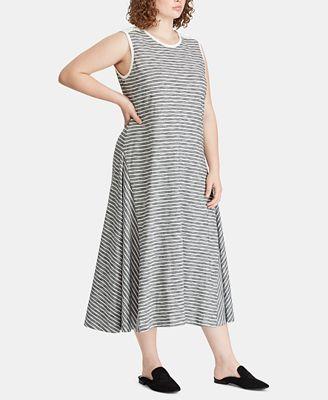 Lauren Ralph Lauren Plus Size Striped Cotton Dress