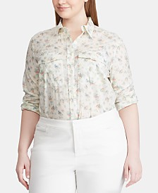 Lauren Ralph Lauren Plus Size Floral-Print Cotton Shirt