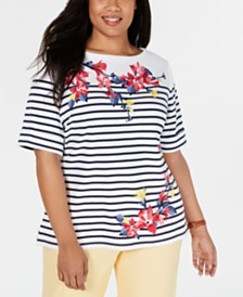 Karen Scott Plus Size Mixed-Print T-Shirt, Created for Macy's