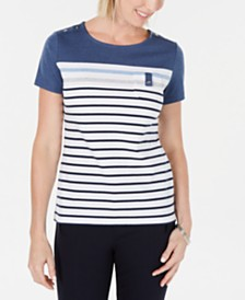 Karen Scott Petite Striped T-Shirt, Created for Macy's