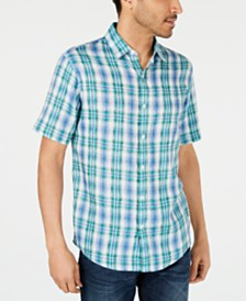 Michael Kors Men's Linen Plaid Shirt, Created for Macys