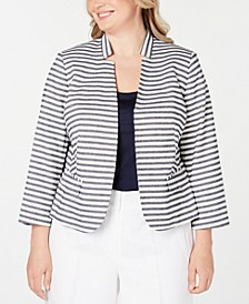 Plus Size Striped Star-Neck Blazer