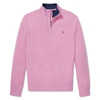 Polo Ralph Lauren Boys Cotton-Mesh Half-Zip Pullover (Pink / Gray)