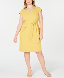 Kasper Plus Size Belted Stretch Crepe Dress