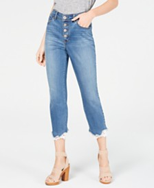 I.N.C. Petite High-Rise  Lace-Trim Skinny Cropped Jeans, Created for Macy's