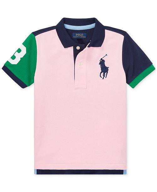 17041019f ... Polo Ralph Lauren Toddler Boys Colorblocked Big Pony Cotton Mesh Polo  Shirt ...