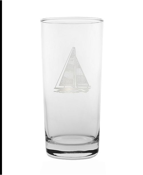 Rolf Glass Sailboat Cooler Highball 15Oz - Set Of 4 Glasses