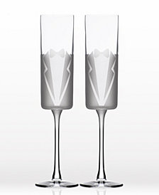 Rolf Glass Wedding Cheers Series 1 (Tux/Tux) Flute 5.75Oz - Gift Box Set Of 2