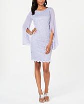 cac8be57a576b Connected Flutter-Sleeve Sequined Lace Dress
