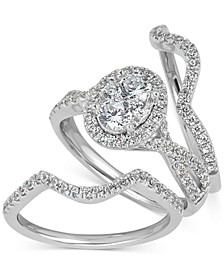 Diamond Halo Bridal 3-Piece Set (1-1/8 ct. t.w) in 14k White Gold