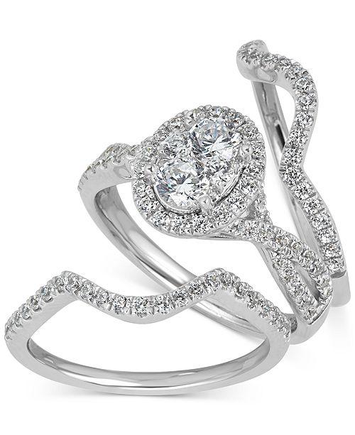 Diamond Halo Bridal 3 Piece Set 1 1 8 Ct T W In 14k White Gold