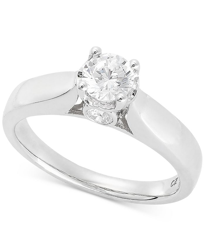 TruMiracle - Diamond Solitaire Engagement Ring (5/8 ct. t.w.) in 14k White Gold