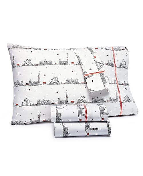 Martha Stewart Collection CLOSEOUT! Whim by Martha Stewart  Collection Novelty Print 4-pc Queen Sheet Set, 200 Thread Count 100% Cotton Percale, Created for Macy's