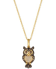 "Le Vian Chocolatier® Owl 18"" Pendant Necklace (1/3 ct. t.w.)  in 14k Gold"