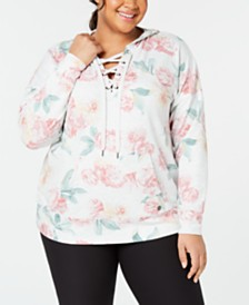 Ideology Plus Size Printed Lace-Up Hoodie, Created for Macy's