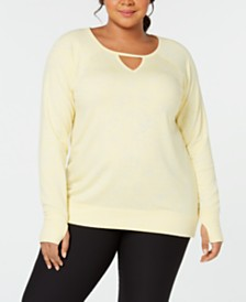 Ideology Plus Size Floral Burnout Keyhole Top, Created for Macy's