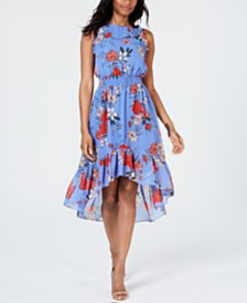 Vince Camuto Printed High-Low A-Line Dress
