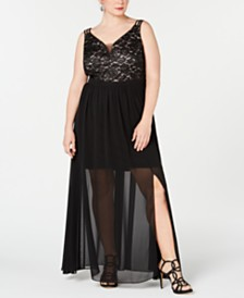 Morgan & Company Trendy Plus Size Lace Chiffon-Overlay Gown