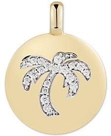 "Swarovski Zirconia Palm Tree ""Good Vibes Only"" Reversible Charm Pendant in 14k Gold-Plated Sterling Silver"