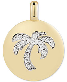 """CHARMBAR™ Swarovski Zirconia Palm Tree """"Good Vibes Only"""" Reversible Charm Pendant in 14k Gold-Plated Sterling Silver"""