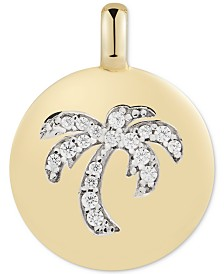 "CHARMBAR™ Swarovski Zirconia Palm Tree ""Good Vibes Only"" Reversible Charm Pendant in 14k Gold-Plated Sterling Silver"