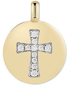 "Swarovski Zirconia Cross ""Always have Faith"" Reversible Charm Pendant in 14k Gold-Plated Sterling Silver"