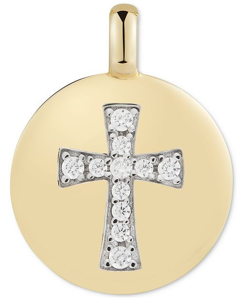"""CHARMBAR Swarovski Zirconia Cross """"Always have Faith"""" Reversible Charm Pendant in 14k Gold-Plated Sterling Silver"""