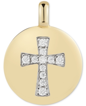 """Cubic Zirconia Cross """"Always have Faith"""" Reversible Charm Pendant in 14k Gold-Plated Sterling Silver"""