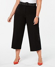 Plus Size Belted Wide-Leg Cropped Tummy-Control Pants,  Created for Macy's