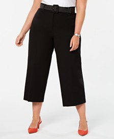 Alfani Plus Size Belted Wide-Leg Cropped Tummy-Control Pants,  Created for Macy's