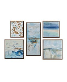 Madison Park Blue Horizon Gallery Art with Bronze Frame Set of 5