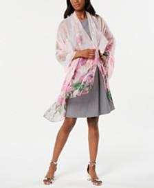 Cejon Ethereal Peony Flower-Print Oversized Wrap