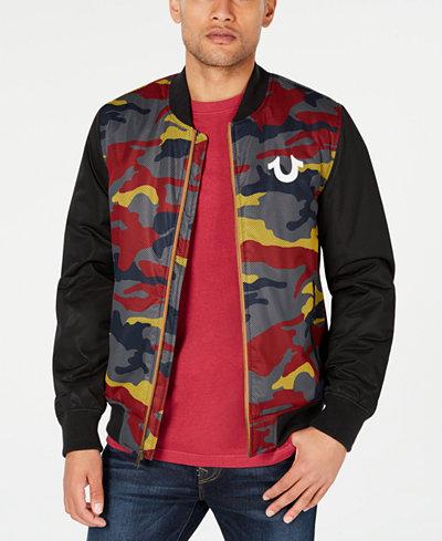 True Religion Men's Mesh Camo Bomber Jacket