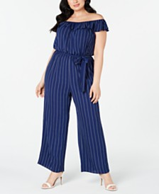 Love Squared Plus Size Striped Off-The-Shoulder Jumpsuit