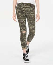 Vanilla Star Juniors' Ripped Camo Cropped Skinny Jeans