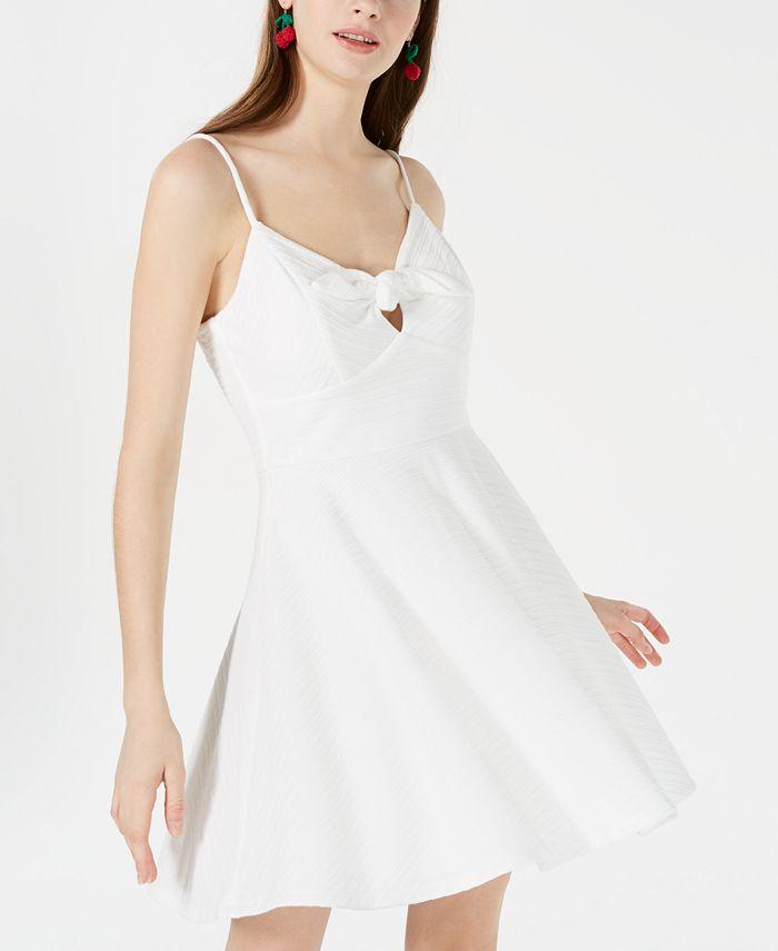 Trixxi - Juniors' Textured Tie-Front Fit & Flare Dress