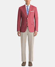 Men's UltraFlex Classic-Fit Red/Tan Linen Suit Separates