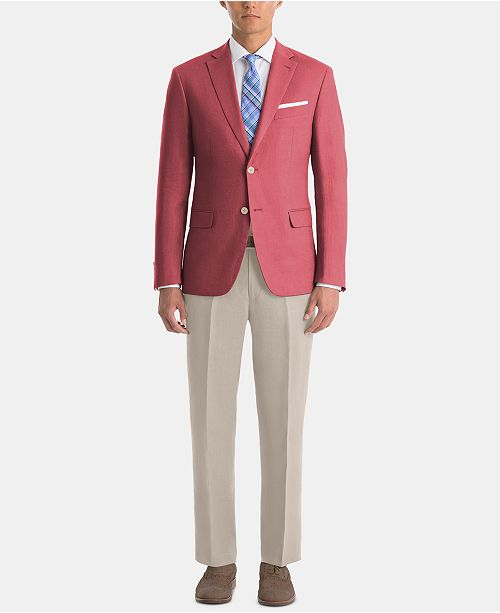Lauren Ralph Lauren Men's UltraFlex Classic-Fit Red/Tan Linen Suit Separates