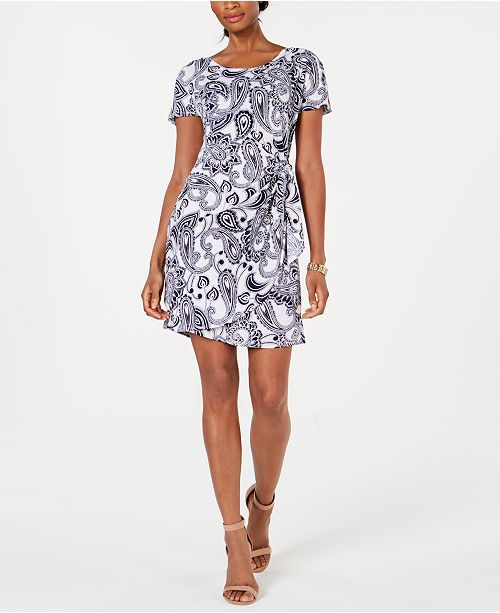 Robbie Bee Petite Paisley-Print Faux-Wrap Dress