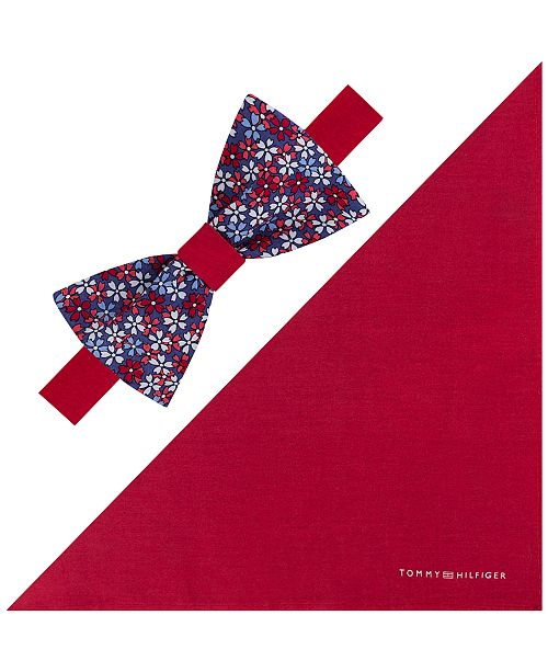Tommy Hilfiger Men's Floral To-Be Tied Bow Tie & Solid Pocket Square Set