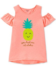 Little & Big Girls Pineapple Graphic Cold-Shoulder T-Shirt