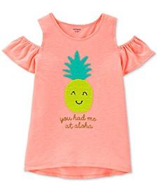 Little & Big Girls Pineapple Graphic Cold-Shoulder T-Shirt