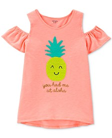 Carter's Little & Big Girls Pineapple Graphic Cold-Shoulder T-Shirt